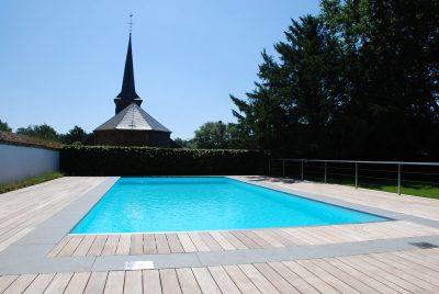 piscine enterrée sol bois